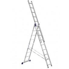 Лестница алюминиевая трехсекционная 3х9 ступеней